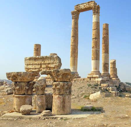 historian: Temple of Hercules on the Citadel Mountain in Amman in Jordan