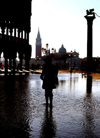 doges  palace: Venice Italy doges palace in backlight and Saint George Island Stock Photo