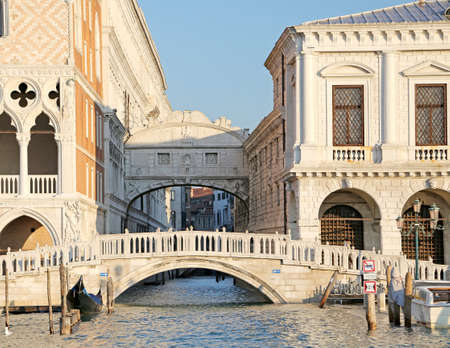 doges  palace: famous bridge of sighs in Venice in Italy and doges palace and prison