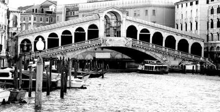 rialto bridge: Rialto Bridge in Venice Italy in black and white
