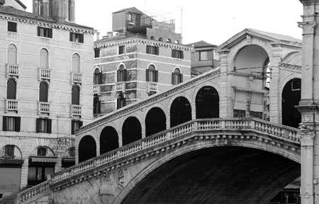 rialto: Rialto Bridge without people in Venice Italy Stock Photo
