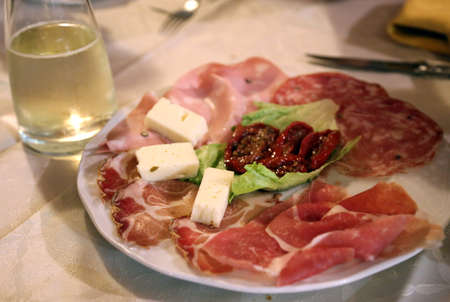 italian salami: appetizers with Italian salami at the elegant restaurant