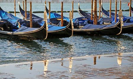 st  mark's square: moored gondolas near St. Marks square in Venice