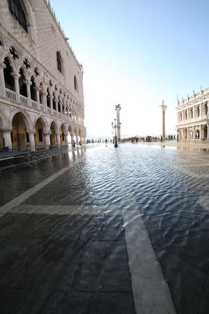 doges  palace: saint Mark Square and Doges Palace at high tide in Venice Italy