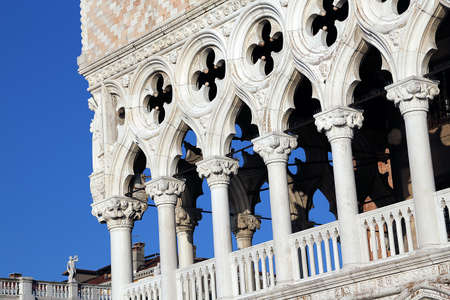 doges: Detail of Doges Palace in Venice in Italy Editorial