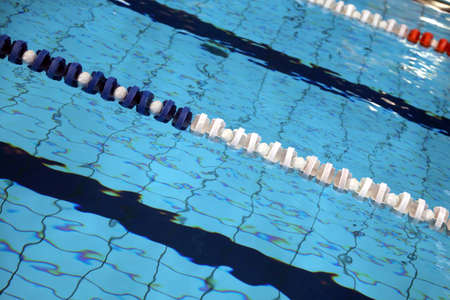 lane marker: Lane swimming races in the sports competition  indoor swimming pool  withhout people