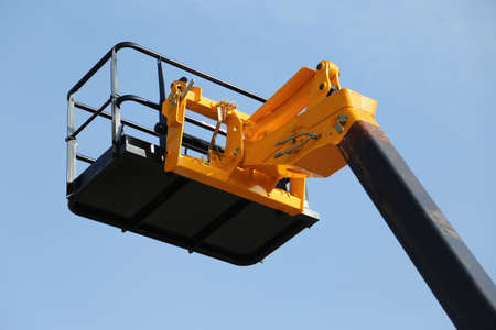 elevation: high platform for industrial work in elevation safely Stock Photo