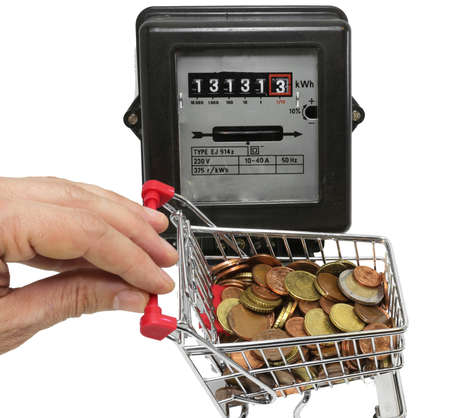 pushes: hand pushes a cart of European money to pay the electricity bills Stock Photo