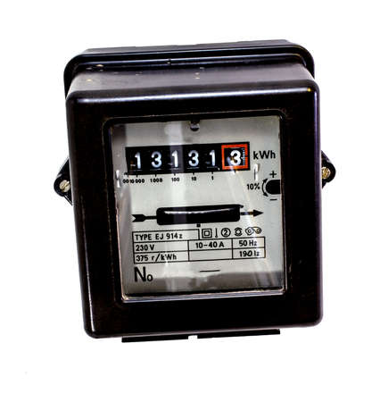 thirteen: old counter of electrical energy consumption with the number thirteen in display