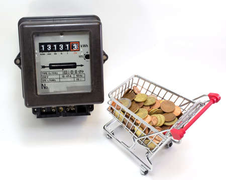 electromechanical: shopping cart full of European currencies and the counter of the family consumption