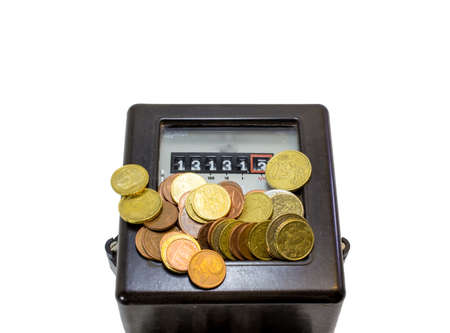 electricity meter: electricity meter with Thirteen numbers and European currencies Stock Photo
