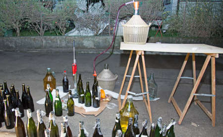 brew house: homemade wine bottling in the backyard with the Carboy