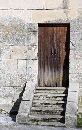 not open: old wooden door to enter in the belltower