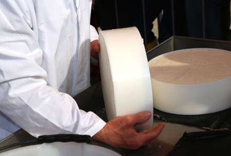 caciocavallo: hands of the elderly manufacturer of cheese while doing the cheese in the dairy