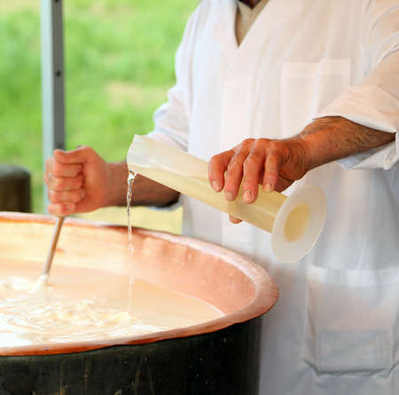 Pour RENNET in milk in copper pot for making cheese in the dairy