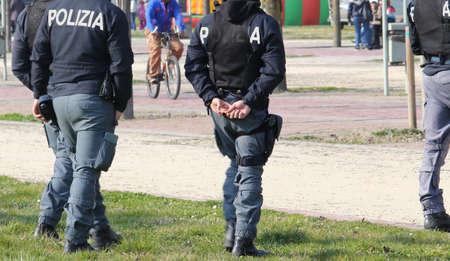 drug dealers: Italian police team patrolling the Park in search of drug dealers