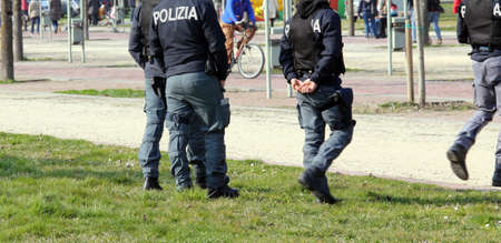 patrolling: Italian police team patrolling the Park in search of drug dealers