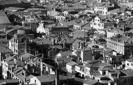 population growth: Venice, Italy, many houses seen from the campanile di san marco in black and white