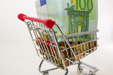 european money: European money and coins and banknotes in the shopping cart
