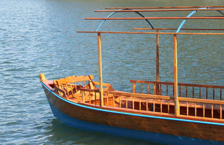 fluvial: large rowboat to transport passengers on Lake Bled in Slovenia