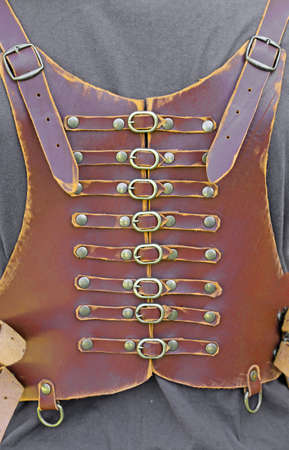 buckles: handcrafted leather corset with many brass buckles
