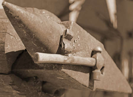 ferrous foundry: Anvil heavy and hammer in the workshop of the master blacksmith