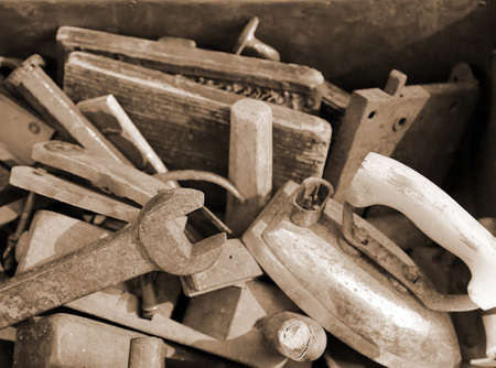 ancient blacksmith: old tools rust for sale by Junkman Stock Photo