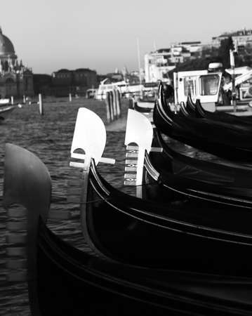 tide: many gondolas in Venice in Italy during high tide