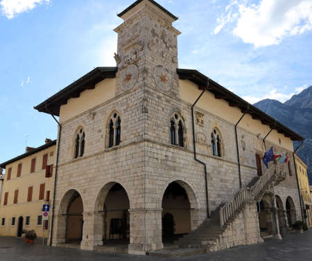 reconstructed: Old Town Hall of the town of VENZONE in Northern Italy reconstructed after the terrible earthquake of 1976