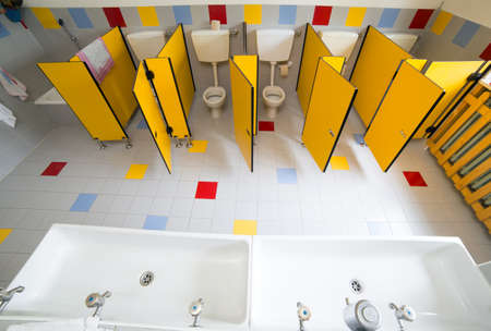 bathroom nursery school photographed from above without children