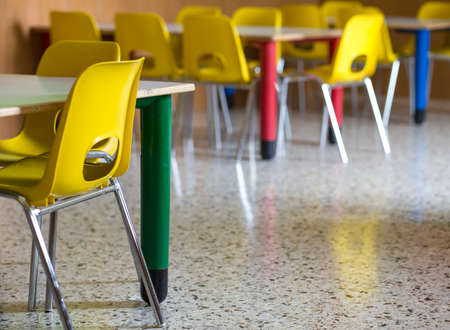 small plastic chairs in the nursery kindergarten class