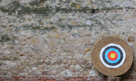 target shooting: target for archery and the walls of the old Castle