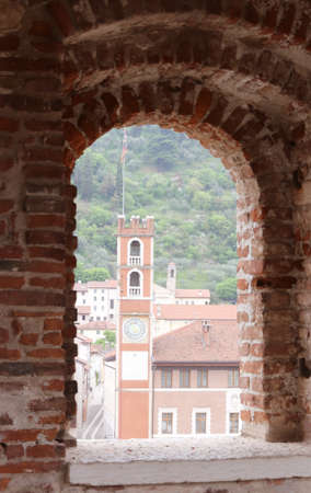 a war historian: ancient tower in piazza degli scacchi in Marostica in Northern Italy and the medieval castle