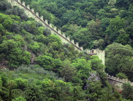 a war historian: Long walls of the castle of Marostica in Northern Italy Editorial
