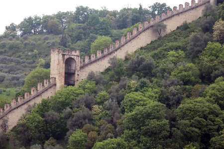 a war historian: Long mighty walls of the castle of Marostica in Northern Italy