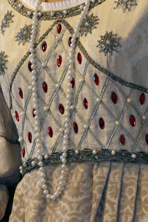 princely: ancient medieval princely dress used by the Princess with precious Pearl Necklace Stock Photo