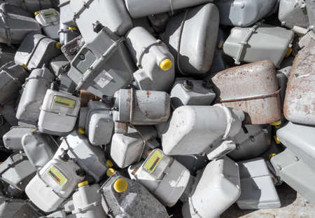 methane: bunch of gas meters in a contaneir of the landfill of hazardous material Stock Photo
