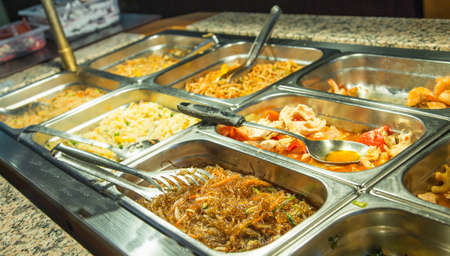 glutamate: tasty food and spaghetti with vegetables in the Chinese restaurant Stock Photo