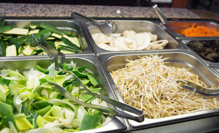 soy sprouts: bamboo and soy sprouts buffet in Asian restaurant Stock Photo