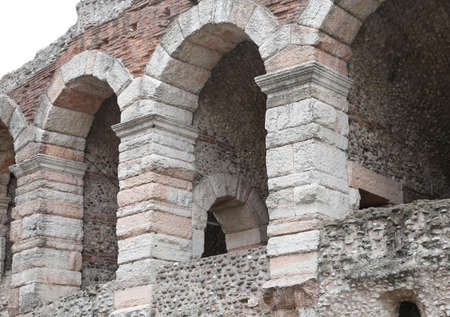 paredes exteriores: detail of the exterior walls of the ancient Roman Arena in Verona in Italy Foto de archivo