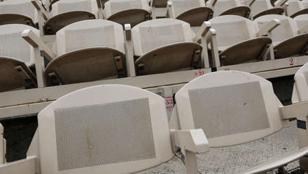 metallic gray empty seats before the theatrical Stock Photo