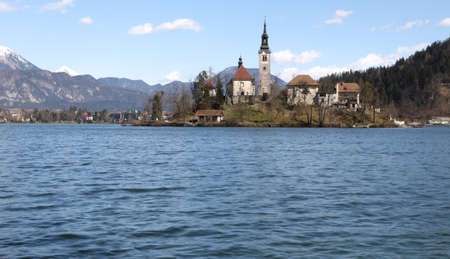 belltower: Island in Bled Lake in Slovenia with Church Stock Photo