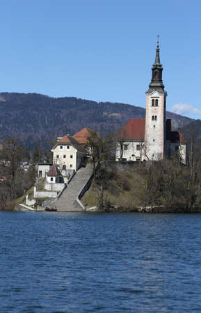 bled: Island in Bled Lake in Slovenia with Church Stock Photo