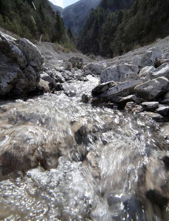 meltdown: pure fresh water in mountain Brook during the meltdown of the glacier