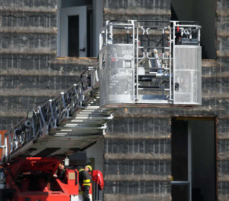 emergency stair: steel ladder rack of firefighters during exercise in the Firehouse