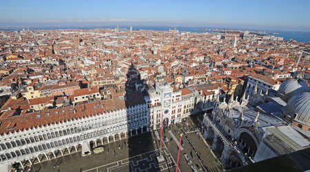 procuratie: St Marks Square and the Procuratie Nuove  from the top of the bell tower Stock Photo