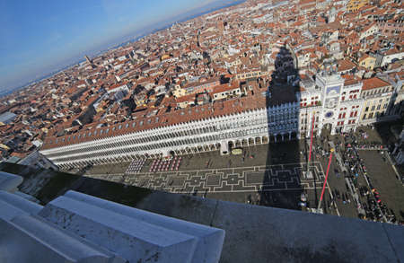 nuove: St Marks Square and the Procuratie Nuove  from the top of the bell tower Stock Photo