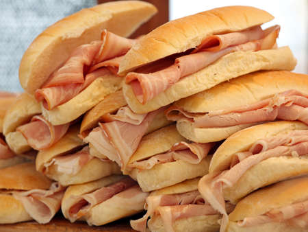 panino: many ham sandwiches on sale at the bar