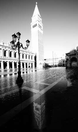 the campanile: high Campanile of Saint Mark in Venice with the high tide