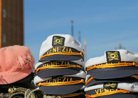 giftware: hat for sailors with VENICE written for sale in the stand Stock Photo